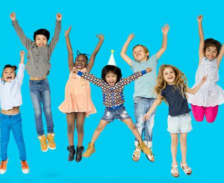 rastas: Diverse Group Of Kids Jumping and Having Fun
