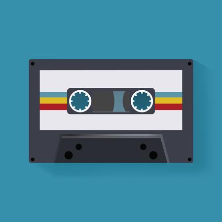 Retro Cassette Tape Music Record  Icon Illustration Vector Иллюстрация
