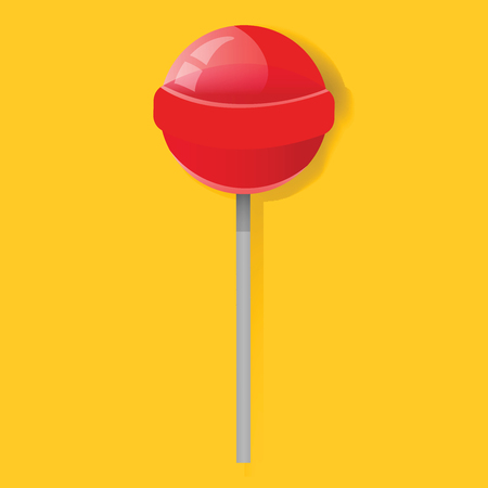 Red Lollipop Candy Sweet Icon Illustration Vector