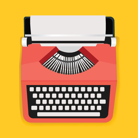 Retro Typewriter Machine Icon Illustration Vector