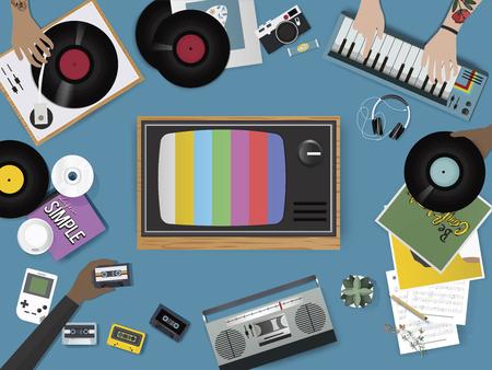 Retro Music Entertainment Media Mixed Icon Illustration Vector