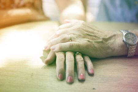 Photo Gradient Style with Mature people romantic holding hands Stock Photo