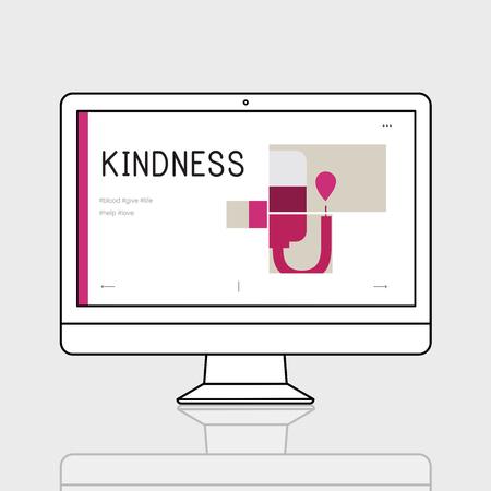 컴퓨터에서 헌혈 캠페인의 그림 스톡 콘텐츠 - 77965100