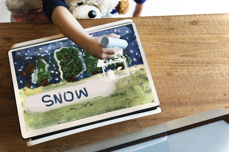 Children painting home winter drawing Stock Photo