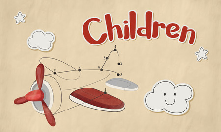 Children fun connect the dots airplane graphic Stock Photo - 77962275