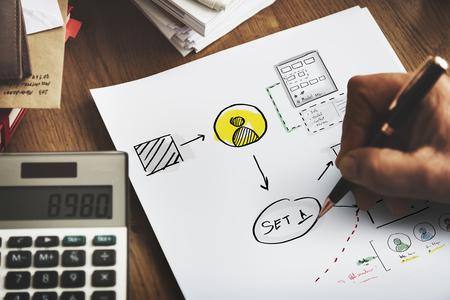 Business startup process drawing sketch Фото со стока