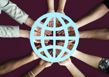 hand holding paper: Globalisation Communication Network Connection Worldwide