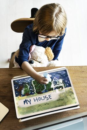Kids House Winter Snow Drawing Stock Photo