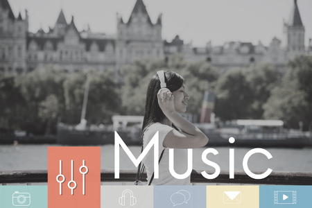 information medium: Music Digital Media Leisure Multimedia Stock Photo