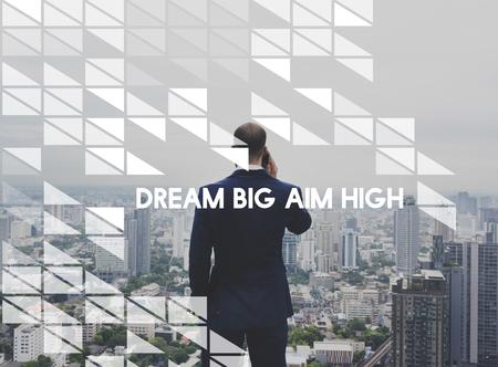 Businessman with dream big aim high concept