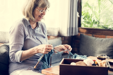 Knitting Chilling Rest Leisure Activity Stock Photo