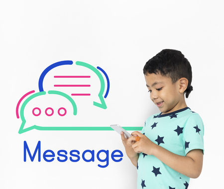 Boy using a mobile phone with message concept