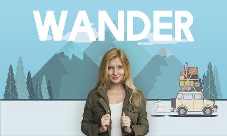 Vrouw met illustratie van de ontdekkingsreis reisreizen reizen Stockfoto