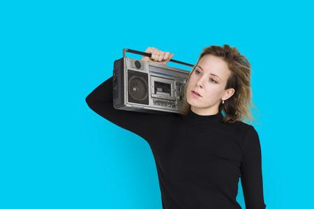 Caucasian Lady Holding Jukebox Neutral Stock Photo