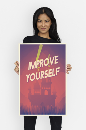 Woman holding network graphic overlay banner