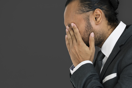 Side view of businessman with stress concept