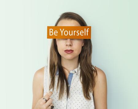 Yourself overlay word young people Stock Photo