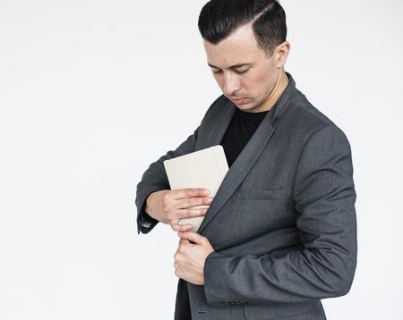 Business Man Secretive Document Concept Stock Photo