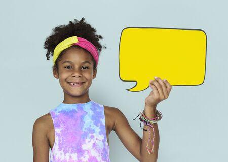 Little African Girl and Speech Bubble