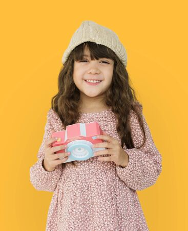 Little Girl Smiling Happiness Paper Craft Arts Camera Photographing Studio Portrait