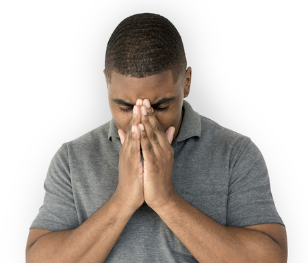 African desent is feeling blue stressed upset Stock Photo - 78082091