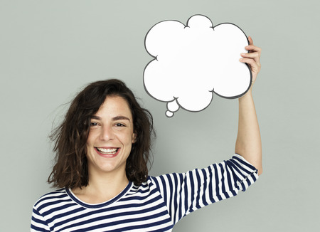Woman Hold Blank Speech Bubble Copy Space