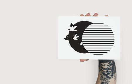 Illustratie van de vogel ontketenen van de illusie kooi