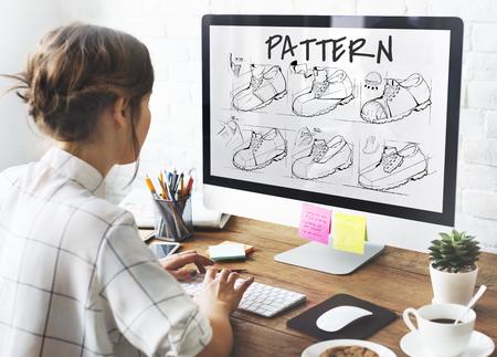 procedure: Shoe production procedure sketch drawing Stock Photo