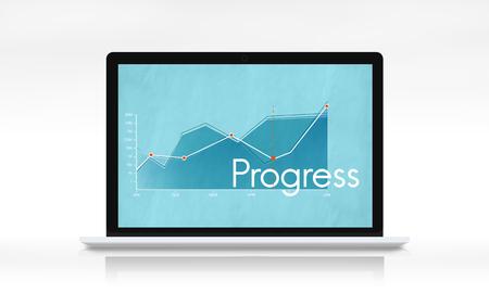 laptop: Corporate business line graph report