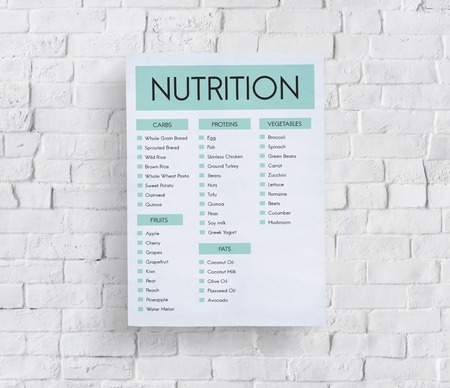 Poster on wall with nutrition concept Stock Photo