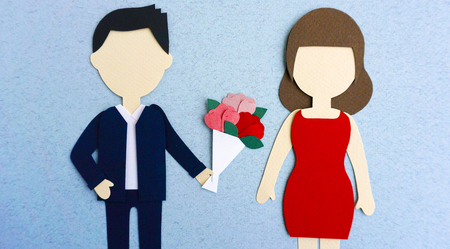 Valentines Day Couple Lover Paper Mockup
