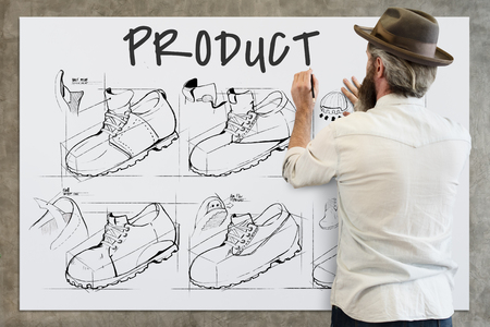 artistry: Shoe production procedure sketch drawing Stock Photo