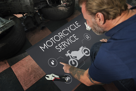 Motorcycle Service Engine Fix Concept Stock Photo