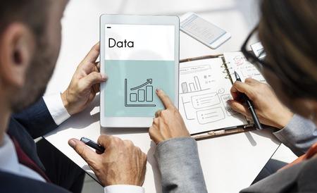 lady on phone: Information Improvement Data Report Stock Photo