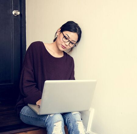techie: Woman Working Using Laptop Techie