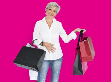 Woman Cheerful Shopping Bags Concept