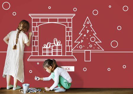 Joyeux noël et heureuse illustration du nouvel an Banque d'images - 78228911