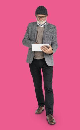 Senior Adult Man Digital Tablet Technology