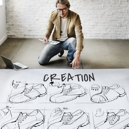 laptop: Shoe production procedure sketch drawing Stock Photo