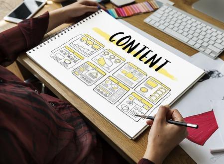Contenu Organiser le diagramme de projet Sketch Drawing Banque d'images - 78177427