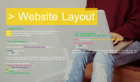 Web design is about layout of the interface. Stock Photo