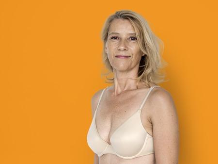 Blond White Woman Smile Happy Sexy Bikini Studio Portrait
