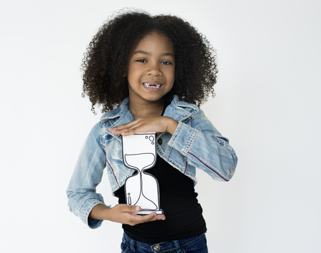 Girl Holding Papercraft Hourglass Timer