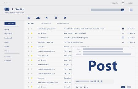 Composing an email web interface Stok Fotoğraf