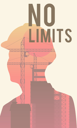 Double exposure of human silhouette and industrial background with No Limits concept