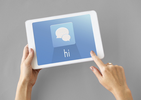 Hands Tablet Chat Conversation Bubble Graphic Фото со стока