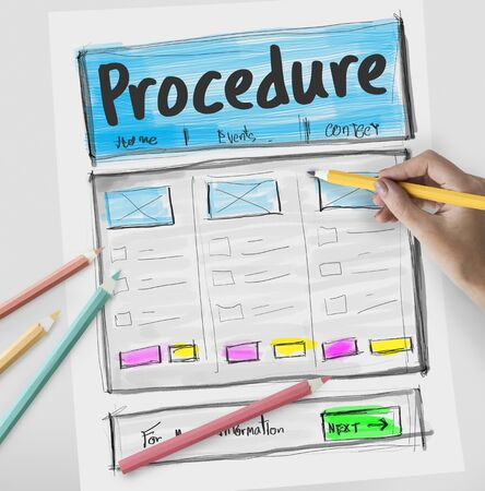 procedure: Product Design Drawing Website Graphic Stock Photo