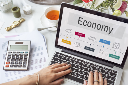 Economische Handel Financiële Boekhouding Pictogrammen Stockfoto