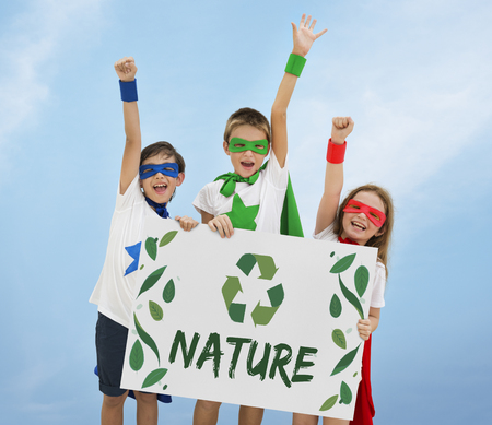 heros: Nature Recycle Save The Planet Icon Stock Photo