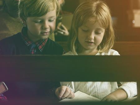 Kids Read Bible Church Religion Believe